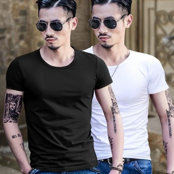 簡單V領/圓領 純色修身男士短袖T恤上衣(M/L/XL/XXL)