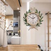 美式田園鐘表掛鐘時鐘客廳靜音鐘創意臥室家用個性時尚掛表石英鐘 js7973『小美日記』
