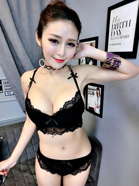 克妹Ke-Mei【AT39758】法式蕾絲~性感透視蕾絲蝴蝶結薄杯鋼圈內衣套裝
