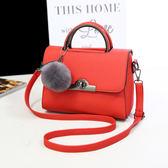 紅色 韓版時尚PU皮手提包女包 單肩斜挎包郵差包 側肩斜背包 休閒女士跨包側背小包