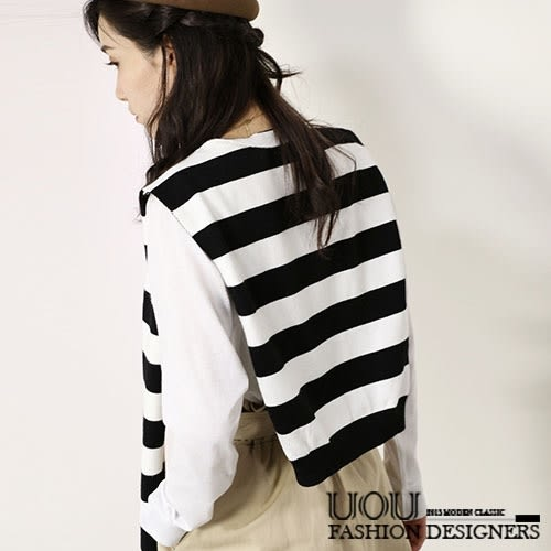 *Lunule*正韓 韓製 質感條紋保暖造型針織披肩上衣‧2色/K012