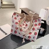 大包包包包2021新款時尚側背包女包大容量帆布包ins韓風通勤涂鴉托特包迷你屋 迷你屋 新品