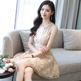 買一送一 韓國風名媛氣質小清新蕾絲花朵修身無袖洋裝