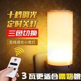 led遙控小夜燈 插電床頭可調光嬰兒壁燈帶開關臥室喂奶插座燈暖光