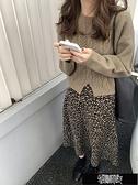 下襬開叉復古圓領麻花針織毛衣 Z11333【新年免運】
