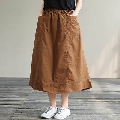 純棉鬆緊腰半身裙 純色中長款A字裙/2色-夢想家-0325