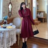 長袖洋裝 日系復古紅色長袖連身裙女秋季新款氣質高腰顯瘦長袖初戀裙子-Ballet朵朵