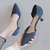 小ck高跟鞋女2020年新款夏季仙女風尖頭細跟百搭低跟中空職業單鞋 【雙十一狂歡購】