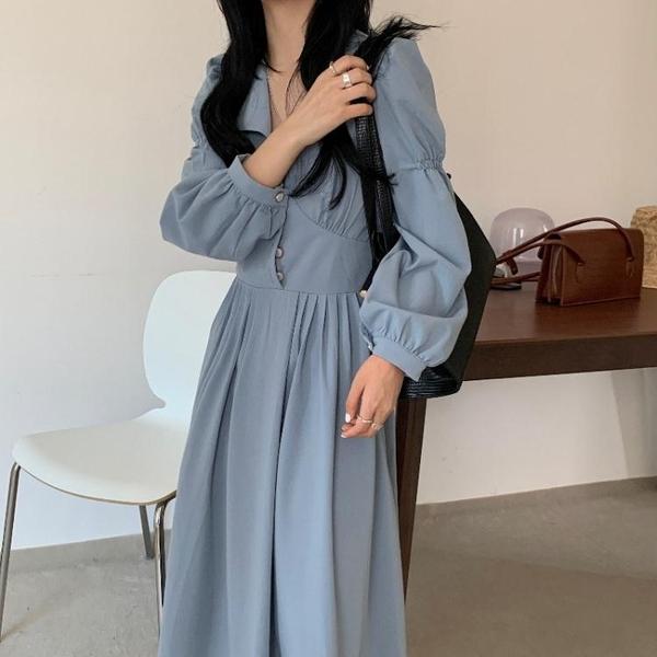 法式洋裝 御姐范連身裙2021秋新款復古褶皺設計感百搭氣質顯瘦收腰長裙時尚 伊蘿
