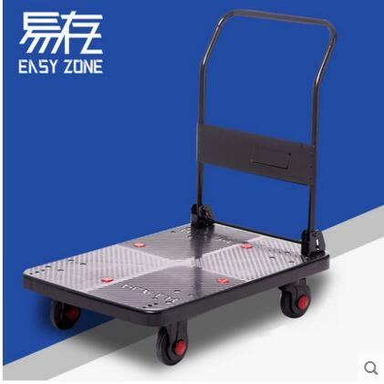 折疊便攜靜音手推車平板車搬運車手拉車拉貨小推車拉車拖車