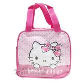 〔小禮堂〕Hello Kitty 帆布便當袋《粉.點點.格紋蝴蝶結》野餐袋.手提袋.保溫保冷 4713549-18013