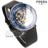 FOSSIL 經典美式風格 鏤空機械 真皮腕錶 男錶 防水手錶 藍面x深咖啡 ME3162