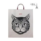 【巴黎站二手名牌專賣店】*現貨*GUCCI 真品*484690 貓咪圖樣 米白色直式手提包