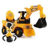 新款兒童電動挖掘機男孩玩具車挖土機可坐可騎大號學步腳踏工程車igo『韓女王』