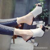 魚嘴涼拖鞋  高跟拖鞋女夏時尚女士 外穿百搭一字型粗跟魚嘴涼拖夏季   Cocoa