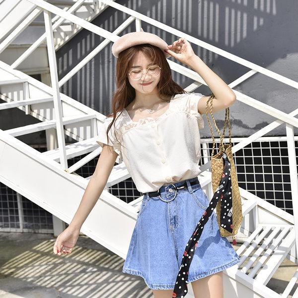 DE SHOP~ (T-7630)條紋襯衫百搭小清新領漏鎖骨短袖襯衫