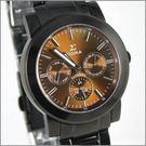 【萬年鐘錶】SIGMA 全黑茶三眼時尚腕錶 8807M-B8