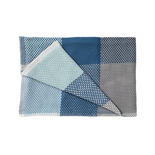 丹麥 Muuto Loom Throw 180x130cm 方格 純棉紡織 沙發毯 / 個人被毯(藍色系列)