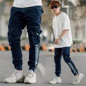 韓國製造型拼接立體口袋工作褲牛仔褲縮口褲【NB0834J】