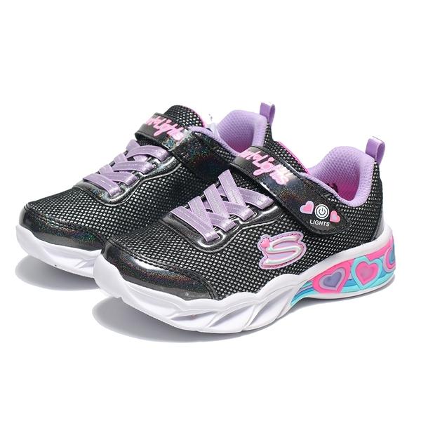 SKECHERS 運動鞋 SHIMMER SPELLS 黑銀 燈鞋 鬆緊鞋帶 魔鬼氈 慢跑 中童 (布魯克林) 302304LBKMT