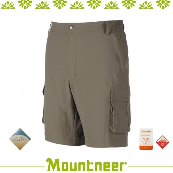 【Mountneer 男 SUPPLEX抗UV短褲《卡其》】21S07/休閒褲/運動褲/登山健/防曬