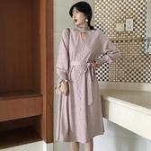 秋季新款復古氣質溫柔木耳邊領針織洋裝收腰綁帶寬鬆中長款裙子