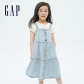 Gap女童 純棉輕薄牛仔吊帶裙 686941-水洗藍