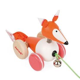 【法國Janod】經典設計木玩-拉車小狐