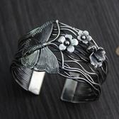 純銀手環(泰銀)-蝴蝶花朵生日情人節禮物女手鐲73gg83【時尚巴黎】