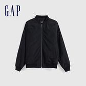 Gap男裝 簡約風格純色開襟棒球領棉服 603992-暗夜黑