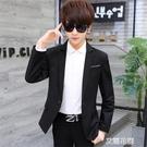 西裝男上衣韓版修身帥氣男士學生小西裝便服單西休閒潮流西服外套『艾麗花園』