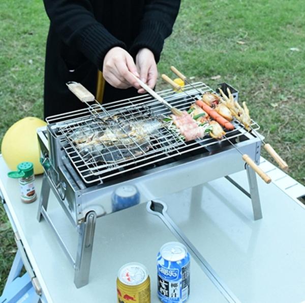 不銹鋼戶外3-5人以上家用木炭燒烤爐野外工具全套烤串爐子燒烤架  熊熊物語