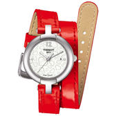 TISSOT 天梭 Pinky 戀人絮語真鑽手錶-珍珠貝x紅/28mm T0842101611700