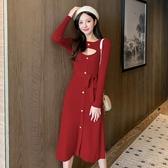 洋裝 韓版實拍8766小性感修身針織連身裙秋冬新款鏤空系帶中長款內搭毛衣裙T528-A 依品國際