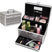 化妝箱護膚品化妝品收納箱盒抽屜式整理箱 大號帶鏡子有鎖手提化妝箱 法布蕾輕時尚