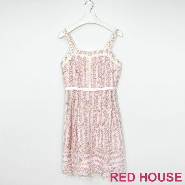 Red House 蕾赫斯-玫瑰印花無袖洋裝(粉色)