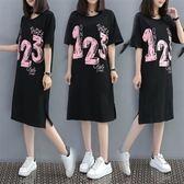 XL-5XL韓版休閒中長版T恤裙24769夏裝新款加大碼女裝胖MM顯瘦印花棉針織T恤連衣裙愛尚布衣
