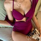 優雅酒紅 深V連身泳裝 內搭比基尼 大露背 兩件式泳裝 集中鋼圈 比基尼 泳衣