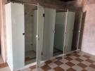 【麗室衛浴】新款適合商用空間 一字型無框夾具膠合白膜強化玻璃12mm 外開式拉門目錄