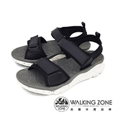 【南紡購物中心】WALKING ZONE (女) 黏扣帶厚底彈性涼鞋 - 黑(另有紅)