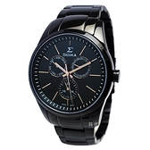 【台南 時代鐘錶 SIGMA】藍寶石鏡面 三眼日期 黑鋼腕錶 9815MBRG 黑/玫瑰金 42mm 平價實惠的好選擇