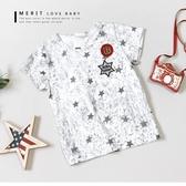 純棉 星星英文字母貼布繡印花滿版短T 短袖 上衣 舒適 T恤 童裝 星星 斑駁 街頭 韓版