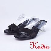 kadia.性感水鑽簍空玻璃透明感拖鞋(9107-91黑色)