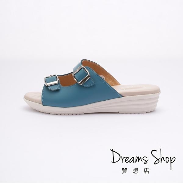 大尺碼女鞋 夢想店 MIT台灣製造好穿可調整真皮氣墊厚底拖鞋4cm(41-45)【ZSS0232】藍色