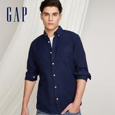 Gap男裝 時尚舒適休閒長袖襯衫227699-海軍藍