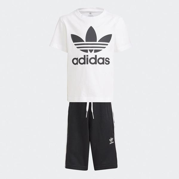 Adidas ORIGINALS ADICOLOR 童裝 套裝 短袖+短褲 休閒 純棉 黑白【運動世界】GP0194