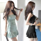 新款性感夜店女裝一字領露肩緊身顯瘦抹胸魚尾洋裝子女夏潮 完美情人精品館