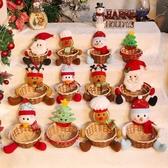聖誕玩偶 圣誕糖果籃圣誕老人雪人麋鹿籃子蘋果籃擺件公仔圣誕節裝飾用品