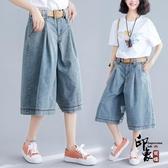 褲子女夏裝文藝大尺碼牛仔褲 寬鬆顯瘦闊腿七分褲‧復古‧衣閣