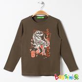 印花長袖T恤04軍綠色-bossini男童